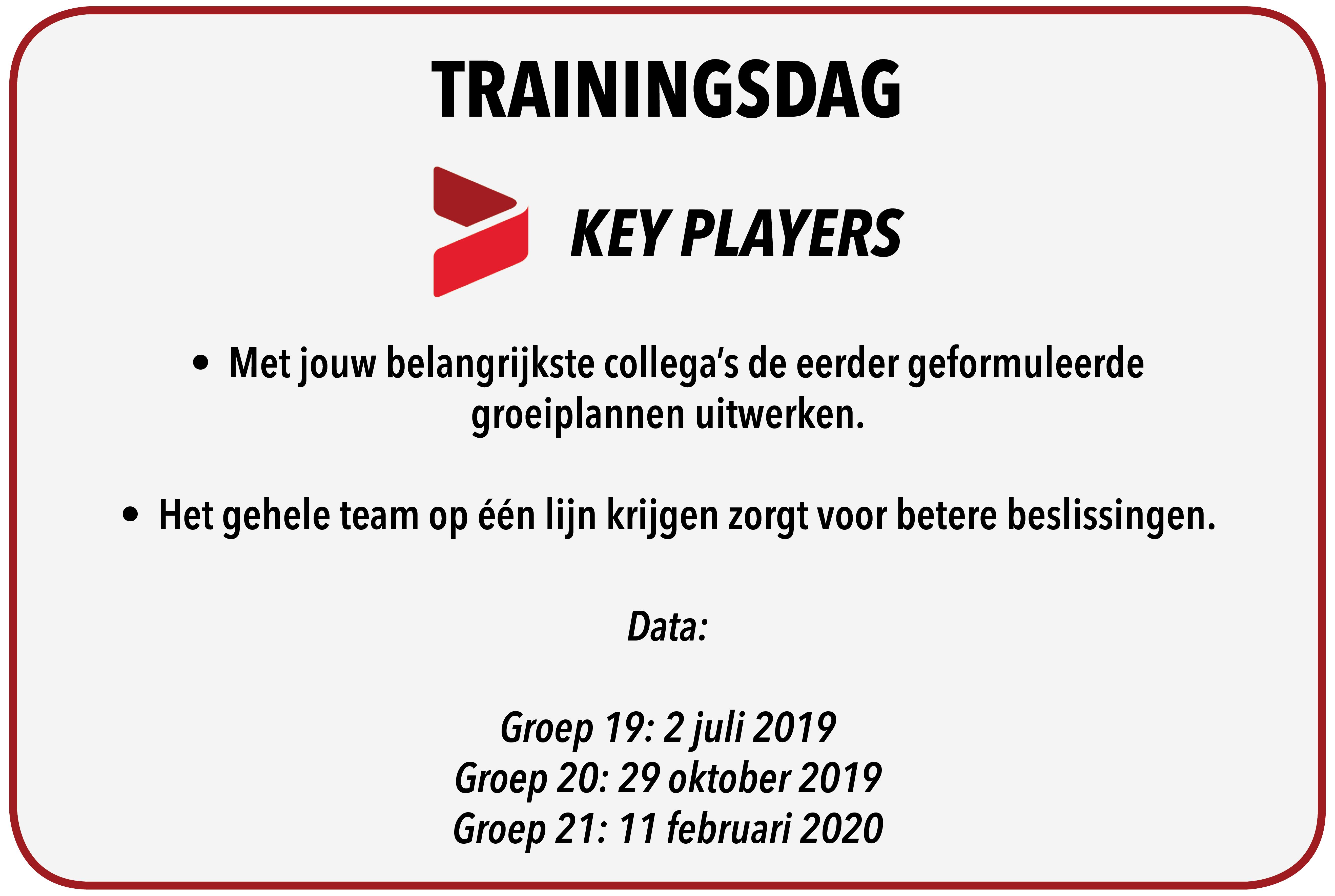 Trainingsdag – Key Players!